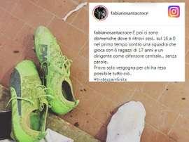 No le gustó nada lo vivido en el partido contra el Pro Piacenza. Instagram/fabianosantacroce