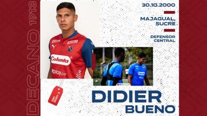 Didier Bueno pasó el corte y jugará en Independiente Medellín. DIMOficial