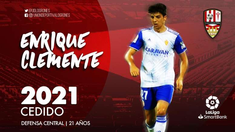 El Zaragoza ha cedido a Enrique Clemente a la UD Logroñés. Twitter/UDLogrones