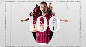 Contra o Parma, Ibrahimovic chegou a 100 partidas com o Milan. Twitter/ACMilan