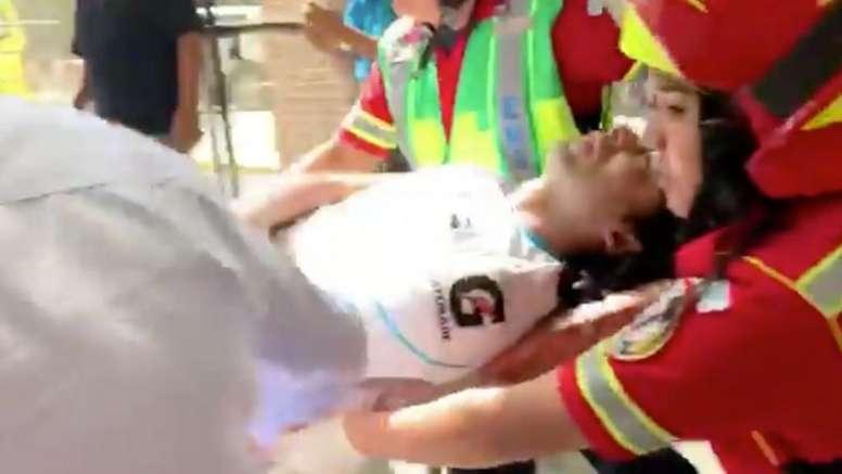 Susto mayúsculo en Guatemala con Agustín Herrera. Twitter/Deportes_PN