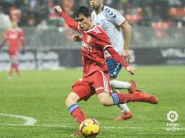 Alberto Soro durant un match de Zaragoza face au Rayo Majadahonda. LaLiga