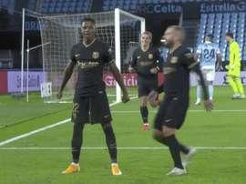 Fati scored again for Barca. Captura/MOVISTAR