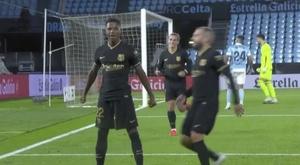 Fati made it 1-0 Barca. Screenshot/MovistarLaLiga
