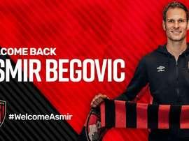 Imagen de Asmir Begovic como nuevo jugador del Bournemouth. AFP