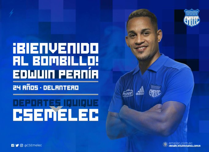 Pernía, nuevo refuerzo de Emelec. Twitter/CSEmelec
