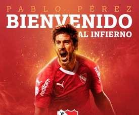 Llega cedido con opción de compra. Twitter/Independiente