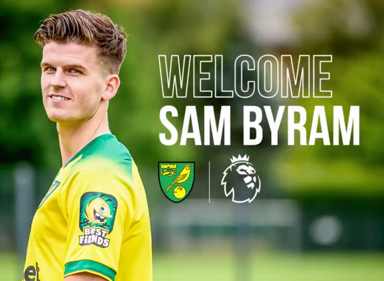 Sam Byram llega hasta junio de 2023. Twitter/NorwichCityFC