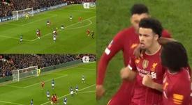Curtis Jones puso Anfield patas arriba con su gol. Captura/EmiratesFACup