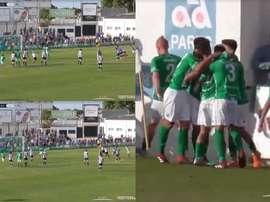 Dani Güiza anotó un penalti que supuso la permanencia para el Sanluqueño. Captura/Footters