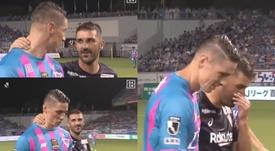 Villa y Torres se despidieron con una amigable conversación. Captura/DAZN