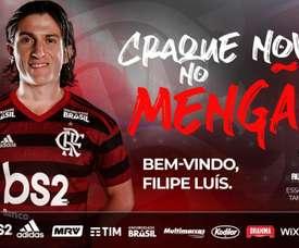 Filipe Luis has officially joined Flamengo. Twitter/Flamengo