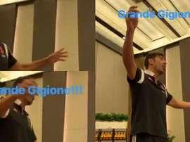 Buffon cantó junto a sus compañeros. JuventusFC