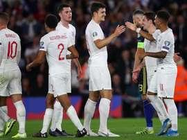 England celebrate after beating Kosovo 5-4. Twitter/England