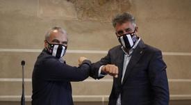 El presidente del Badajoz no piensa en los posibles rivales por el ascenso. Twitter/CDBadajoz