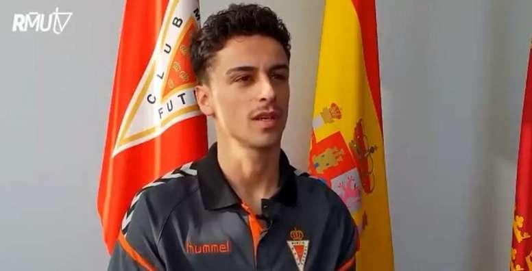 El Murcia incorpora a Josué Dorrio. Captura/RealMurciaTV
