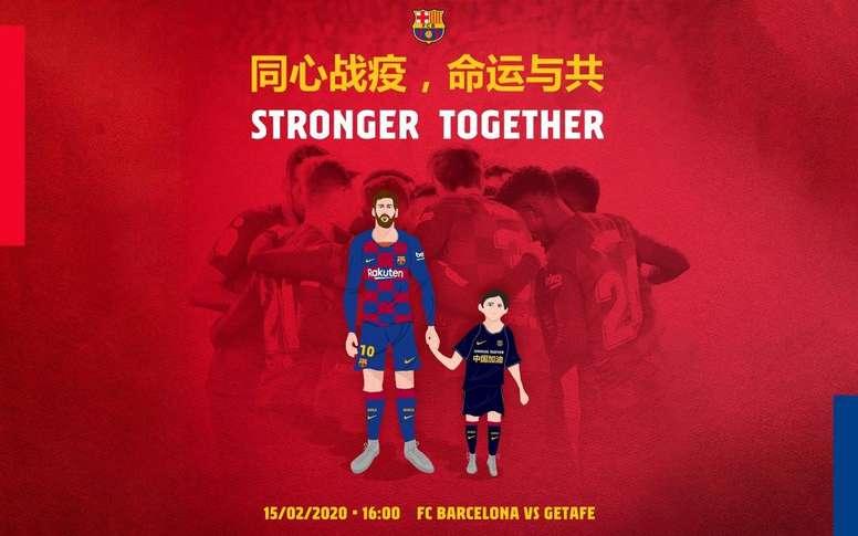 Le Barça et Getafe, unis contre le coronavirus. Twitter/FCBarcelona
