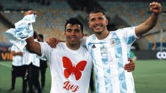 Marcos Acuña lució una camiseta como homenaje tras ganar la Copa América. Instagram/marcos.acuna10