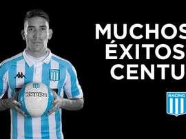 Racing acerta venda de Centurión ao Vélez. Twitter/RacingClub
