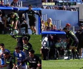 Borja Iglesias voit rouge après avoir poussé le kiné de Leganés. Capture/LaLiga