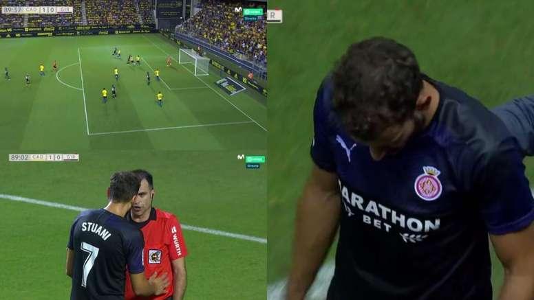 Stuani se marchó expulsado por doble amarilla. Captura/Movistar+