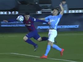 Le Barça s'est fait peur : l'arbitre annule le second but d'Ibiza. Capture/DAZN
