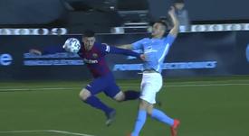 O Barcelona quase sofreu o segundo gol do Ibiza, mas o lance foi anulado. Captura/DAZN