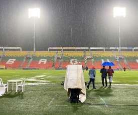 El Tolima-Junior, suspendido por fuertes lluvias. Twitter/cdtolima