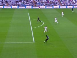 La contre-attaque éclair de Bruges qui douche le Real Madrid. Captura/Movistar+