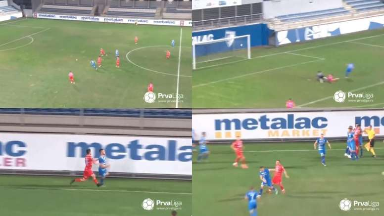 El gol que casi acaba en trifulca en Serbia. Captura/PrvaLiga