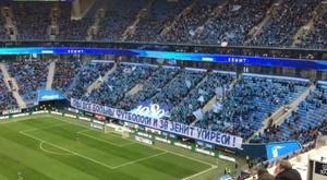 La afición del Zenit sorprendió con un bonito mensaje hacia su club. Twitter/es_fczenit