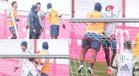 O clima esquentou no treino do Bayern. Captura/SPORTBILD