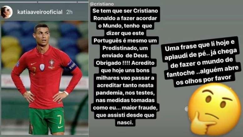 Katia Aveiro dejó unas polémicas palabras en sus redes tras el positivo de Cristiano. katiaaveiro