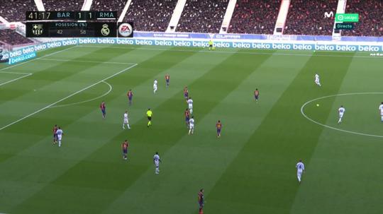 Real Madrid e Barça em um interessante dado nesse 1º tempo. Captura/Movistar+LaLiga