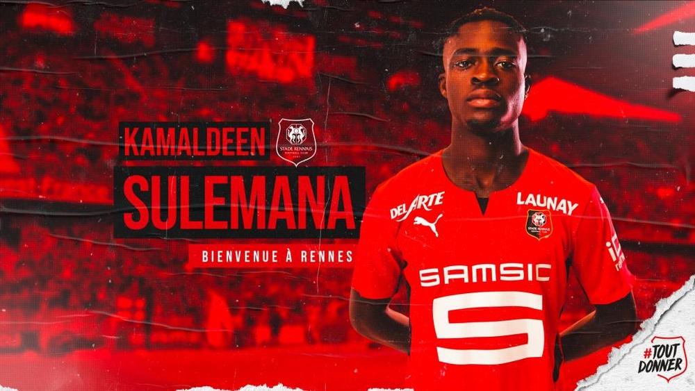 Kamaldeen ha firmado hasta 2026. Twitter/staderennais