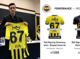 Las camisetas de Özil, desde mil euros. Fenerbahçe-Captura/matchwornshirt