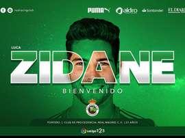 Luca Zidane rejoint le Racing Santander sous forme de prêt. Twitter/racingclub