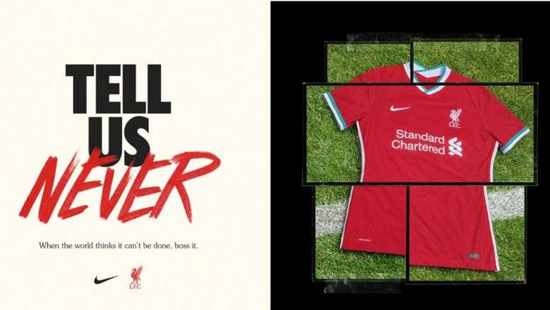 Liverpool apresenta seus novos uniformes para a próxima temporada. Twitter/LFC