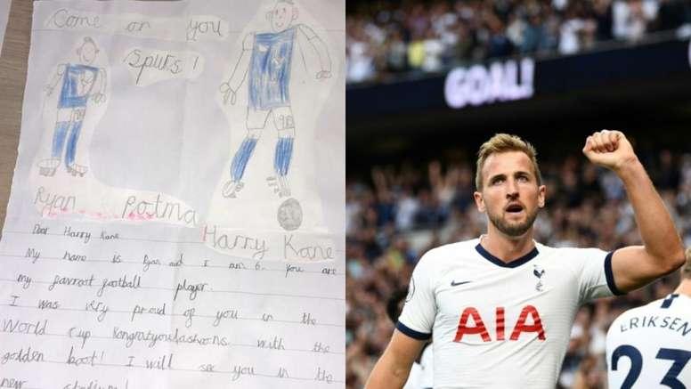 Imagem de carta de fãs de Harry Kane. Twitter/HKane
