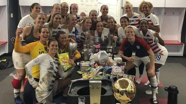Las jugadoras de EEUU celebraron la victoria en la CONCACAF. Twitter/ussoccer_wnt