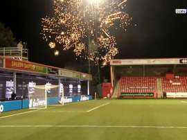 Fireworks force Cheltenham v City to stop for 6 minutes. Screenshot/BeINSports