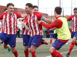Atlético Juvenil y Atlético Madrileño se citan en los cuartos de la Copa de Campeones.Twitter/Atleti