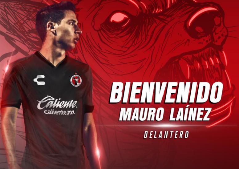 Mauro Lainez se incorporará tras el Torneo Apertura. Twitter/Xolos