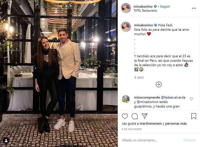 Valverde verá seu primeiro filho nascer nos próximos meses. Instagram/MinaBonino
