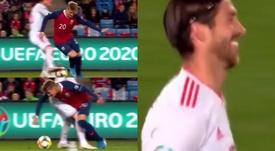 Odegaard protagonizó una acción sensacional ante Ramos. Captura/TVE