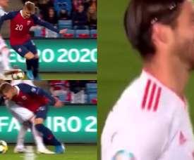Odegaard beat Ramos with a spectacular nutmeg. Captura/TVE