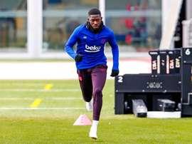 Dembélé de retour à l'entraînement. Twitter/FCBarcelona