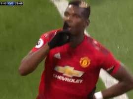 Paul Pogba mandando callar a Old Trafford. Captura/Movistar+