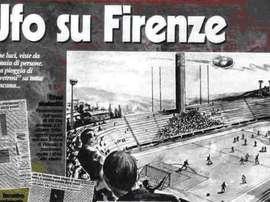 Imagen de periódicos italianos tras suspenderse un partido por presencia de OVNIS. Archivo