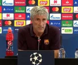 Setién en conférence de presse. Twitter/FCBarcelona